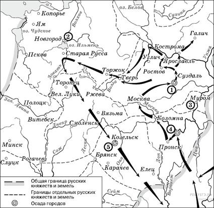 Походы Батыя карта