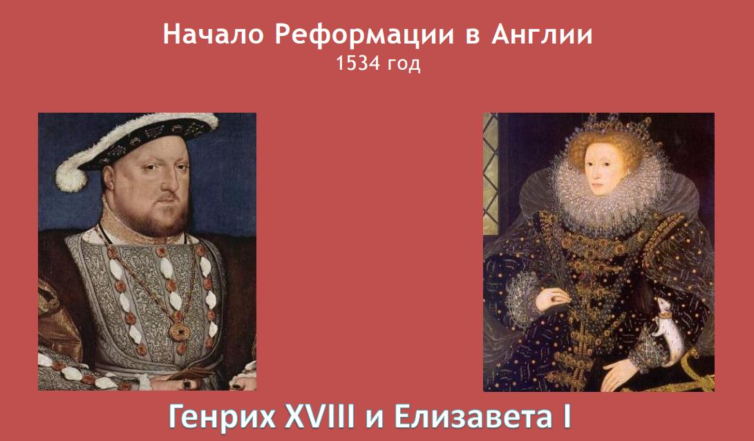 Реформация: Генрих XVIII и Елизавета I